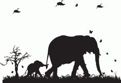 Lovely decal featuring a mother and baby elephant, complemented by butterflies. Perfect for a child's room