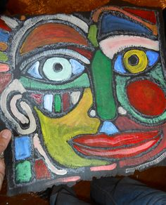 Art Portrait - roofing felt, bar of soap and acrylic paint  #recycle