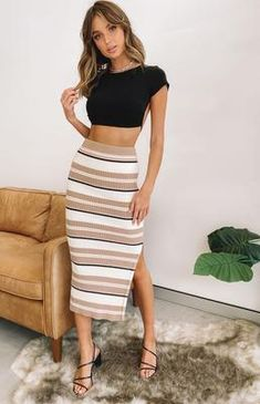 Laurena Knit Midi Skirt White – Beginning Boutique US Skirt Outfits, Casual Outfits, Cute Outfits, Fashion Outfits, Womens Fashion, Knit Skirt, Midi Skirt, Evening Outfits, Stripe Skirt