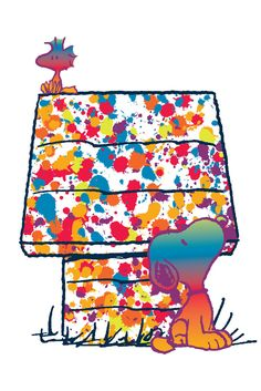 Woodstock and Snoopy Rainbow - Peanuts Collection, Charles Schultz. Rainbow Snoopy and Woodstock at the doghouse. Art on canvas. Snoopy Love, Snoopy E Woodstock, Charlie Brown Und Snoopy, Peanuts Cartoon, Peanuts Snoopy, Snoop Frases, Peanuts By Schulz, Snoopy Wallpaper, Snoopy Quotes