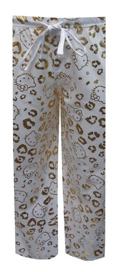 Hello Kitty Gold Foil Leopard Capri Lounge Pants, $18.50  It's time to shine! These capri length lounge pants for women feature a leopard print pattern and Hello Kitty faces in gold foil on a white background. They have a covered elastic waistband and adjustable tape ties. Machine washable and easy to care for. Junior sizing.