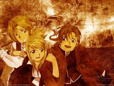Ed, Winry, Al (Left to right) in the original series. Fanart.