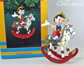 Disney Enesco Holiday Toy Ride Ornament Pinocchio Christmas Rocking Horse RARE Vintage