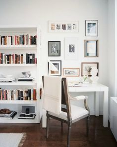on the wall shelves + home office corner