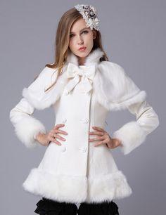 Brand New Stylish Bowknot Cape Double Breasted Slim Coat         _Long Coats_Outerwear_Wholesalekingdom.net