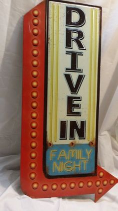 Large Metal Drive-In Family Night Sign Home Theater Cinema System Popcorn Stand
