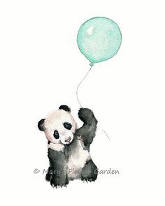 art nursery, mint nursery print, mint balloons, mint green wall art, mint baby shower, panda nursery print, panda bear illustration by Marysflowergarden on Etsy https://www.etsy.com/listing/234759533/art-nursery-mint-nursery-print-mint