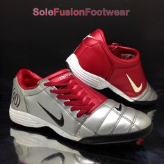 d8234b6589c Nike Mens TOTAL 90 Football Trainers Red Silver sz 10 Rare Soccer Shoes US  11