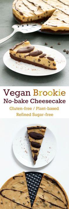 Vegan Brookie No-Bake Cheesecake (Gluten-free, Plant-based, Refined Sugar-free)