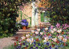 Spring Flowers by Roelof Rossouw Porch Windows, Flower Frame, Spring Flowers, Fine Art America, Dolores Park, Framed Prints, Landscape, Acrylics, Barns