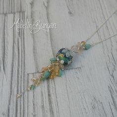 made to order  Lampwork and Gemstone Long by MadelineBunyan