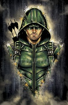 Green Arrow Bust Painting Poster Print by FantasmArt on Etsy