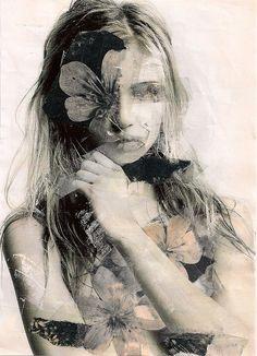 mixed media portrait by Annemiek Tichelaar