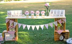 Crate table idea for cookie mix jar favors.
