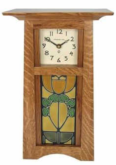 """Craftsman Tile Clock CTC $289.00 $319.00 with copper dial face.  Available in Nut Brown Oak, Craftsman Oak and Natural Cherry. 9"""" W x 14"""" H x 6"""" D. Select any 4"""" W x 8"""" H Motawi Tile."""