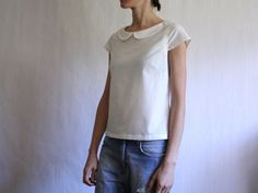 White linen loose fit top with peter pan by StoneLilyStitches