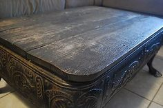 Antique Cast Iron Stove Base Legs with Top! Coffee Table. Victorian Detail!