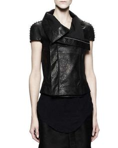 Rick Owens  Short-Sleeve Biker Leather Jacket with Studs, Black - See more at: http://www.neimanmarcus.com/Rick-Owens-Short-Sleeve-Biker-Leather-Jacket-with-Studs-Black/prod164110227/p.prod#sthash.HgxW7b3f.dpuf