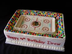 Blackhawks Stadium For Drew 12 x 18 with additional of cake built up along the sides for stadium seating. The crowd is M&. Hockey Birthday Cake, Hockey Birthday Parties, Hockey Party, Birthday Stuff, 21st Birthday, Birthday Ideas, Cupcakes, Cupcake Cakes, Beautiful Cakes