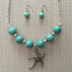 Turquoise starfish necklace set by OlgasEclecticGems on Etsy