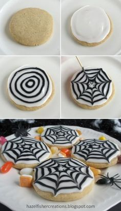 -Peek-A-Boo! Cupcakes Making spider web patterns in icing is a really effective way to decorate cookies and cakes for Halloween and they're actually very easy to do, children will love making these too! Bolo Halloween, Postres Halloween, Dessert Halloween, Halloween Cookie Recipes, Halloween Cookies Decorated, Halloween Sugar Cookies, Halloween Food For Party, Spooky Halloween, Halloween Costumes