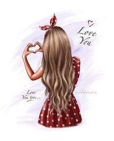 Girly Drawings, Cool Art Drawings, Art Drawings Sketches, Cute Girl Drawing, Cartoon Girl Drawing, Girl Cartoon, Cartoon Kunst, Cartoon Art, 3d Artwork