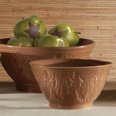 """Modeled after treasured, antique designs from the past, each handcrafted, stoneware bowl is a classic work of art. A warm, versatile and inviting color of chocolate brown makes this bowl an easy addition to any kitchen or dining room. Serve a beautiful meal or show off your classic style! Dishwasher and microwave safe. set/2  Large: 81⁄2""""dia. x 41⁄8""""h   and Small: 65⁄8""""dia. x 31⁄2""""h"""