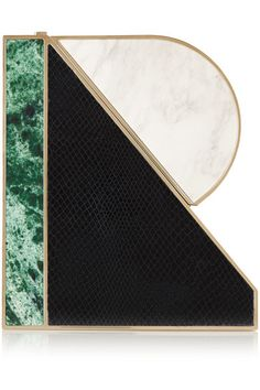 MARY KATRANTZOU R leather and acrylic clutch