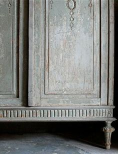 When Decorating: muted grey cabinet...