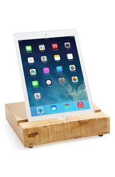 Natural wood iPad stand