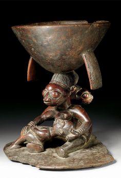 Africa | Ritual bowl from the Yoruba people of Nigeria | Wood