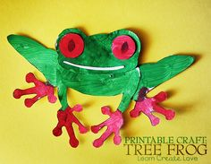 BRAZIL - Pattern and tutorial for a tree frog. These red-eyed tree frogs live in the rainforest canopy and snatch up crickets, moths, and flies with their long sticky tongues. Rainforest Crafts, Rainforest Activities, Rainforest Theme, Rainforest Animals, Amazon Rainforest, Rainforest Classroom, Rainforest Project, Jungle Animals, Rainforest Tribes