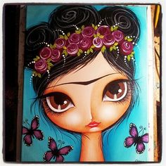 Make Art & Live Happy: Painting Beautiful Girls And Butterflies workshop Doll Painting, Arte Popular, Mexican Art, Whimsical Art, Naive, Face Art, Altered Art, Art Girl, Graphic Art