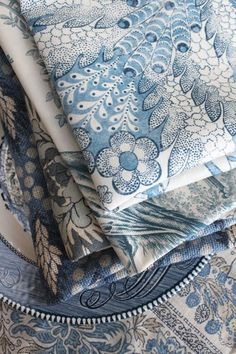 blue and white patterns