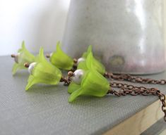 Flower Necklace Green Flowers Copper Necklace Grey by fiveforty, $52.00