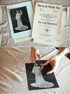 DIY Heirloom Cake Topper  Supplies Needed:  vintage wedding photo  scissors  red tape  vintage music sheet paper  patterned stock for back of photo