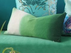 Glorious heavy weight Padua cushion new to Designers Guild AW13 in an Ombre from emerald green
