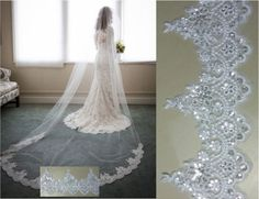 New-1-Layer-Lace-Edge-Sequins-Bridal-Long-Veil-Cathedral-Wedding-Bridal-Veil-A6