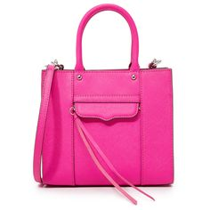 Rebecca Minkoff Mini MAB Tote (€175) ❤ liked on Polyvore featuring bags, handbags, tote bags, flamingo, pink purse, leather tote handbags, pink tote, genuine leather tote and tote handbags