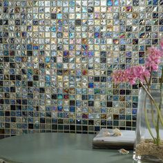 Hammered Blue Mix Glass Mosaic 23x23 Roomset