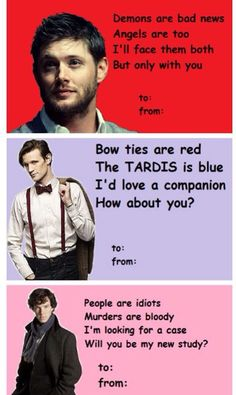 Superwholock Valentine's cards :3 #doctorwho #supernatural #sherlock