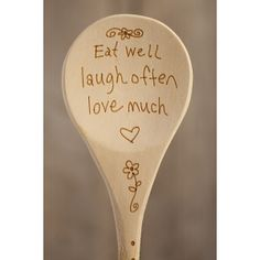 Natural Life Eat Well Wood Burned Spoon
