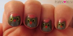 You can still do nail art even if you have VERY short nails - shown here are cute little owls