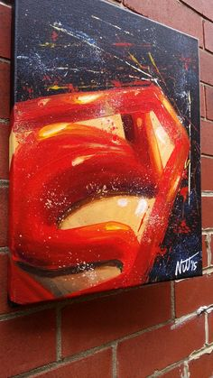 Amazing Superman abstract painting. 11x14 by NJJSTUDIO on Etsy