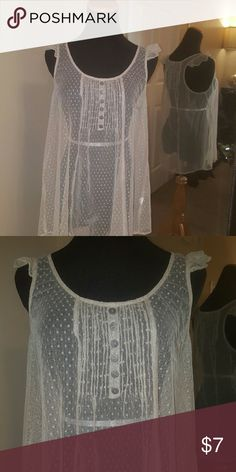 Taupe Lace Shirt Delicate lacy top. Definitely need bandeau or tank underneath. Tops Blouses