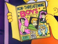 Lisa devours a copy of Non-Threatening Boys Magazine.