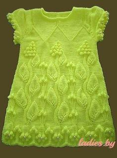 Красивое платье с узором «Виноградная лоза» для девочки 1-2 года (Вязание спицами) — Журнал Вдохновение Рукодельницы
