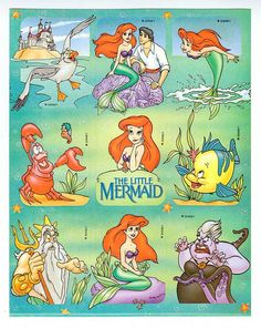 Disney's The Little Mermaid Sticker Sheet Vintage 90's Princess Ariel Flounder Sebastian Ursula