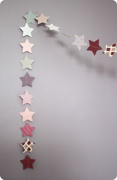 Garland of stars made from scrapbooking paper.