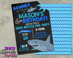 Free shark party downloads perfect for my nephews birthday shark pool party birthday invitation filmwisefo